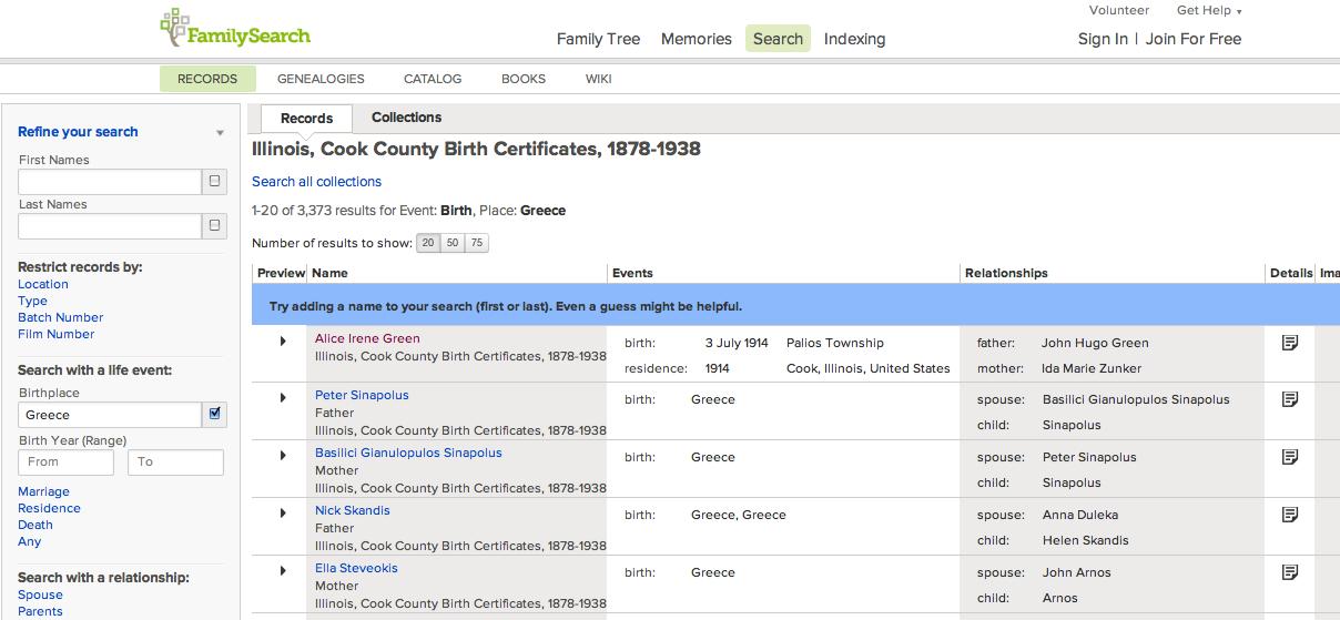 1878-1938 - Illinois, Cook County Birth Certificates -- 3,373 ...