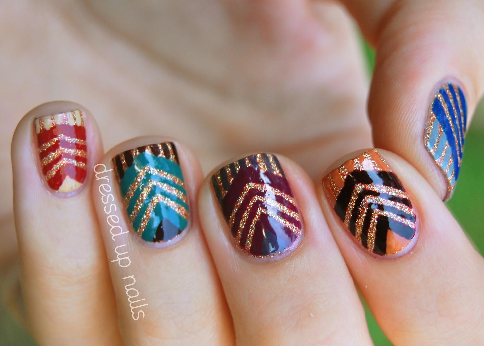 Full color nail art - China Glaze On Safari Chevron Nail Art