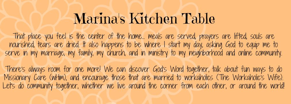 Marina's Kitchen Table, home of Marina Bromley and Auntie Em Writes...