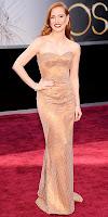 Джесика Частейн в рокля Армани на Оскари 2013