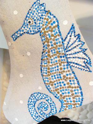 hand painted sea life Christmas stocking