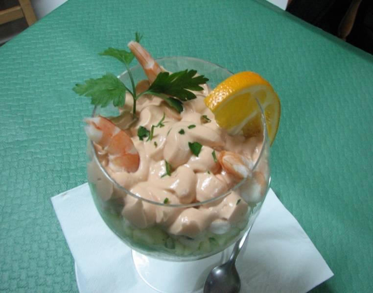 La cocina de antonio coca coctel de gambas con salsa rosa - Coctel de marisco ingredientes ...