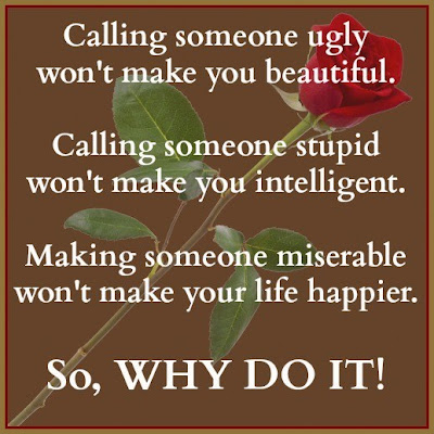 Calling someone ugly won't make you beautiful.