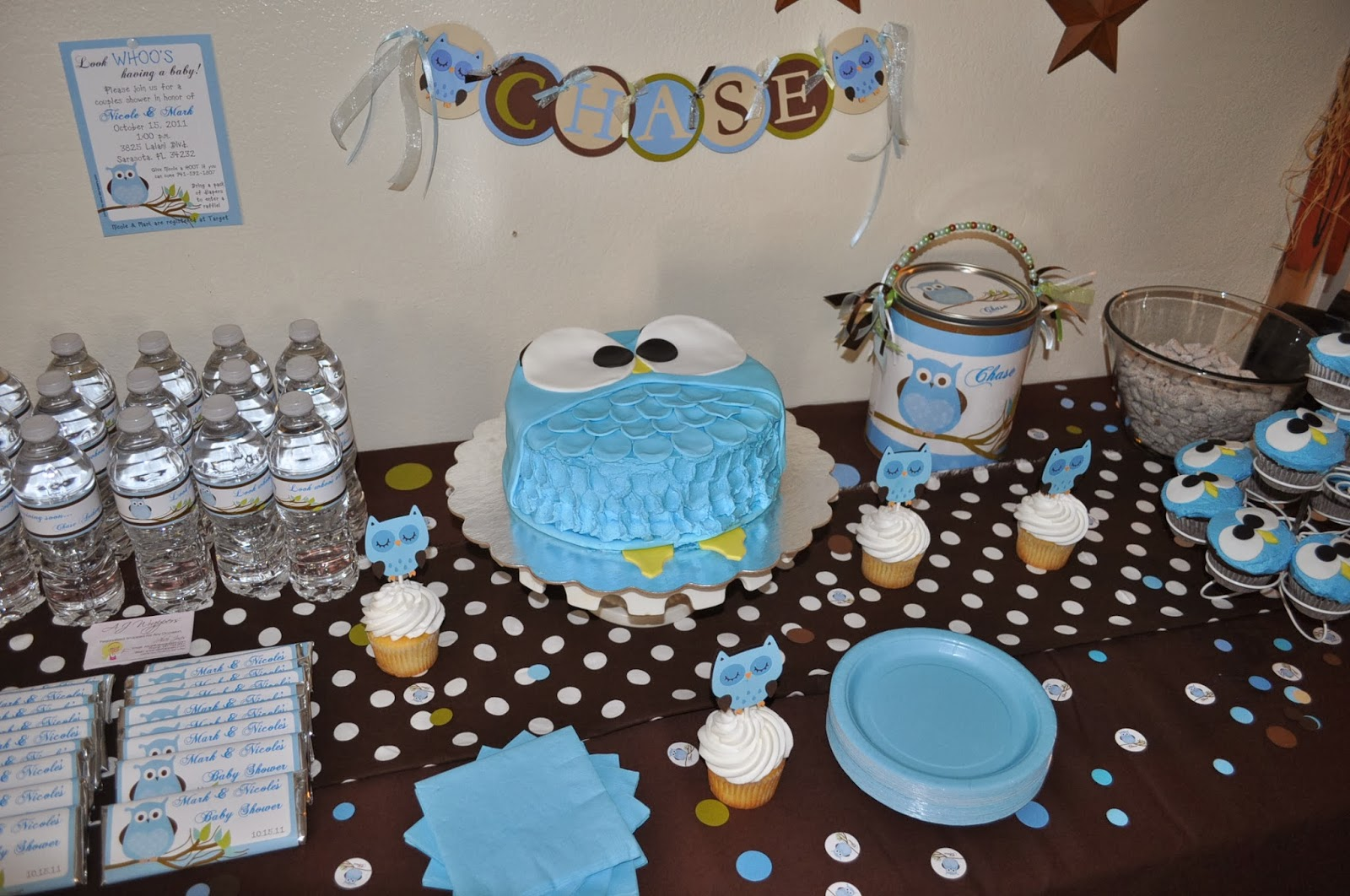 candy wrappers party decor and more blue and brown owl baby shower