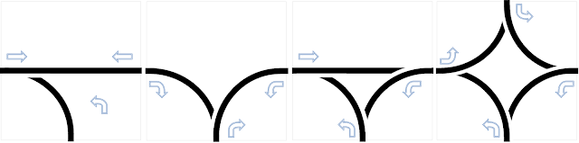 Пример блоков-развилок трассы для робота ездящего по линии