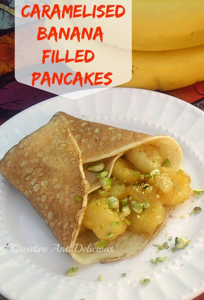 Caramelised Banana Filled Pancakes ~ Delicious, caramel Bananas in pancakes served warm or cold ! #Dessert #Breakfast #FilledPancakes