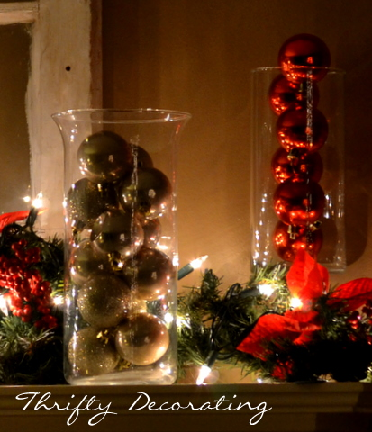 Thrifty decorating cheap and easy glass vases for Cheap christmas decoration ideas