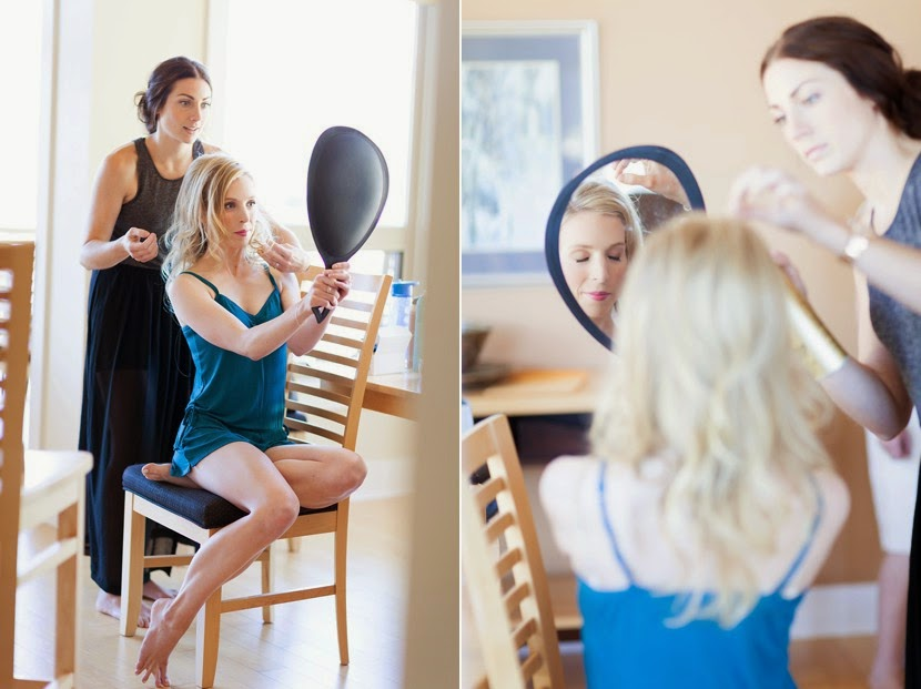 bride having makeup done photo