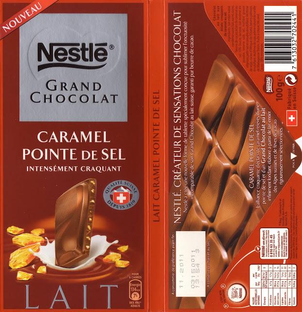 tablette de chocolat lait gourmand nestlé grand chocolat caramel pointe de sel intensément craquant