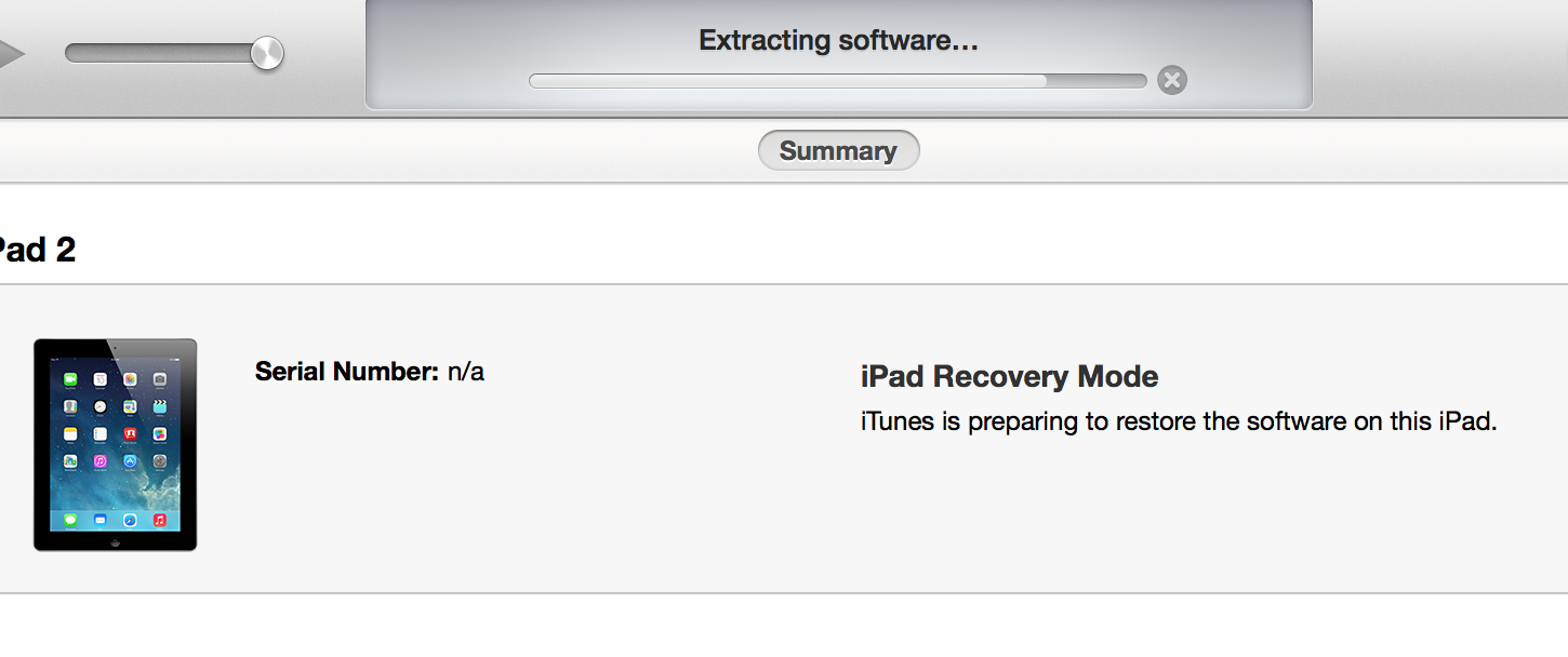 Wait for the iTunes restoration to finish.