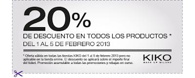 CUPON 20% DE DESCUENTO KIKO DE 1 AL 5 DE FEBRERO