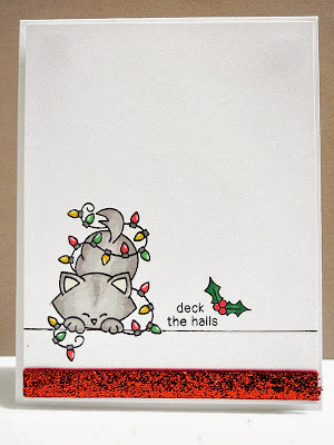 Cat in Christmas lights card by Jennifer Ingle for Newton's Nook Designs
