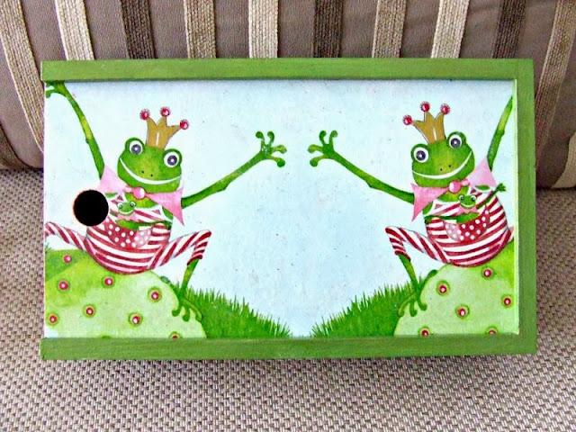 decoupage pudełko na kredki motyw żaby by Eco Manufaktura