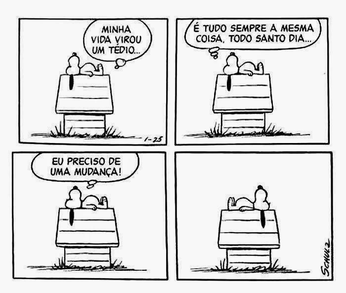 Descrição: Tira da história em quadrinhos Peanuts, do cartunista Charles Schulz, com as falas em balões. Snoopy é um cãozinho da raça Beagle, com o corpo branco, olhos miúdos pretos, focinho longo arredondado com uma bolinha preta na ponta, orelhas longas pretas e barrigudinho. Ele é extrovertido, vive em um mundo de sonhos e fantasias que aparecem como se fossem realidade quando ele dorme no telhado da sua casinha, instalada no quintal gramado do seu dono, Charlie Brown. É lá, que Snoopy passa a maior parte do tempo. Nessa cena, ele está deitado de perfil, de costas no telhado, as orelhas pendem abaixo, a cabeça está voltada para o lado esquerdo e as patinhas traseiras a direita. Snoopy pensa: