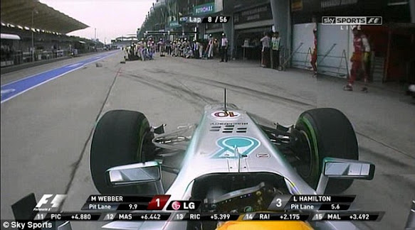 Lewis Hamilton mistakenly pits in the wrong garage