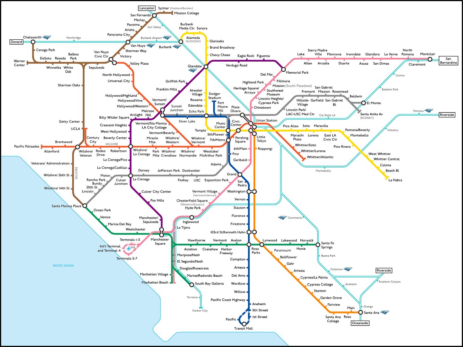 Mapa Metro Los Angeles California - Mapa california