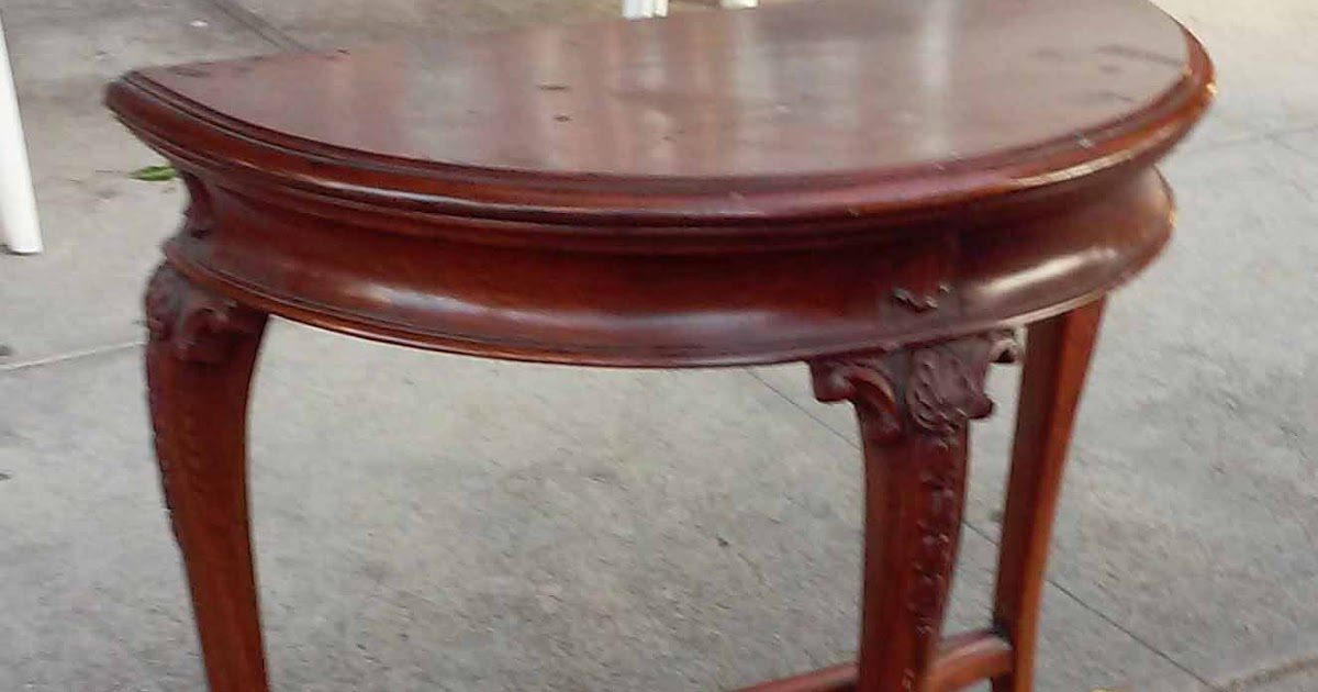 Uhuru Furniture Amp Collectibles Sold Reduced Mahogany Half Moon Accent Table 50