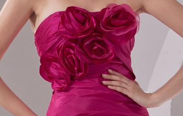 Incroyable Fuchsia taffetas A-ligne de robe de soirée sweetheart balayage