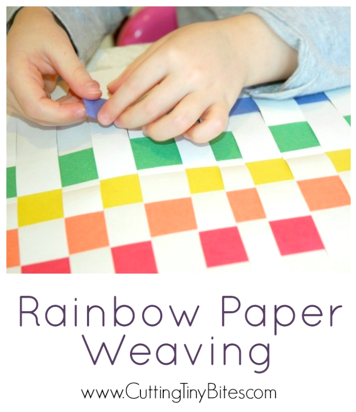 Fine Motor Craft for Kids. Make a colorful woven rainbow mat with paper. Great for preschoolers, with simple materials.