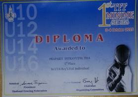 1st Place Foil U-14 1st TFF Minime