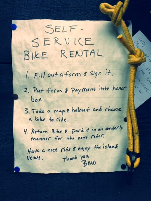 honesty boxes in Maine, Peaks Island Maine, being honest, riding bikes in Maine on honor system