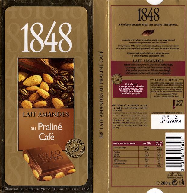 tablette de chocolat lait gourmand poulain 1848 lait amandes au praliné café