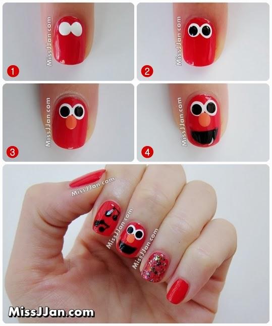 Missjjans Beauty Blog Sesame Street Elmo Inspired Nail Art