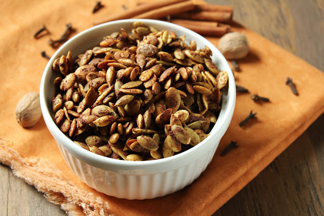 pumpkin spice roasted pepitas or pumpkin seeds