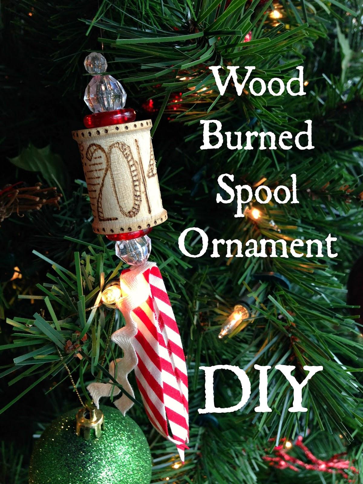 WhiMSy love: DIY: Wood Burned Spool Ornament
