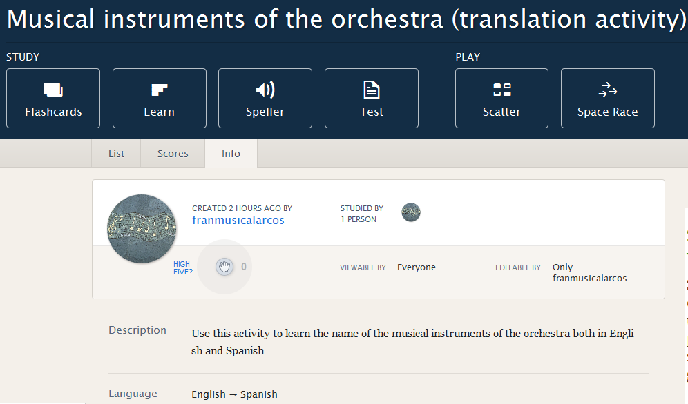 http://quizlet.com/65140170/musical-instruments-of-the-orchestra-translation-activity-flash-cards/