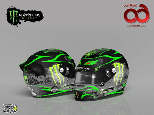 monster energy helmet yoshikanjidesign paint works. Black Bedroom Furniture Sets. Home Design Ideas