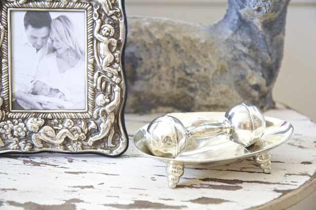 Side table with silver rattle; Baby nursery; Nursery in the Nest; Nora's Nest