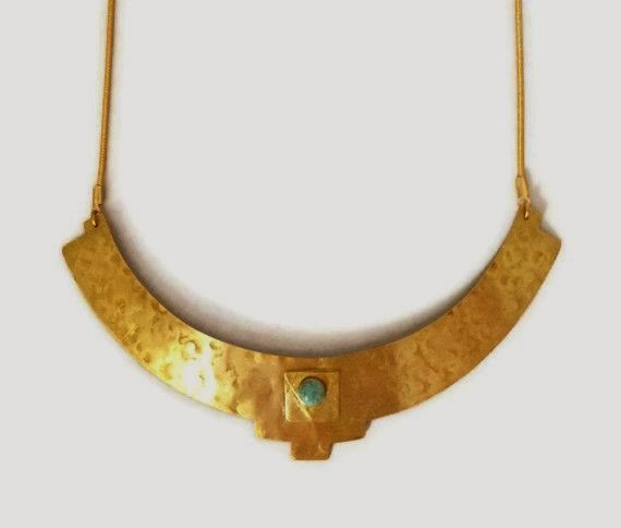 Handmade, brass, designer, handcrafted necklace with stone