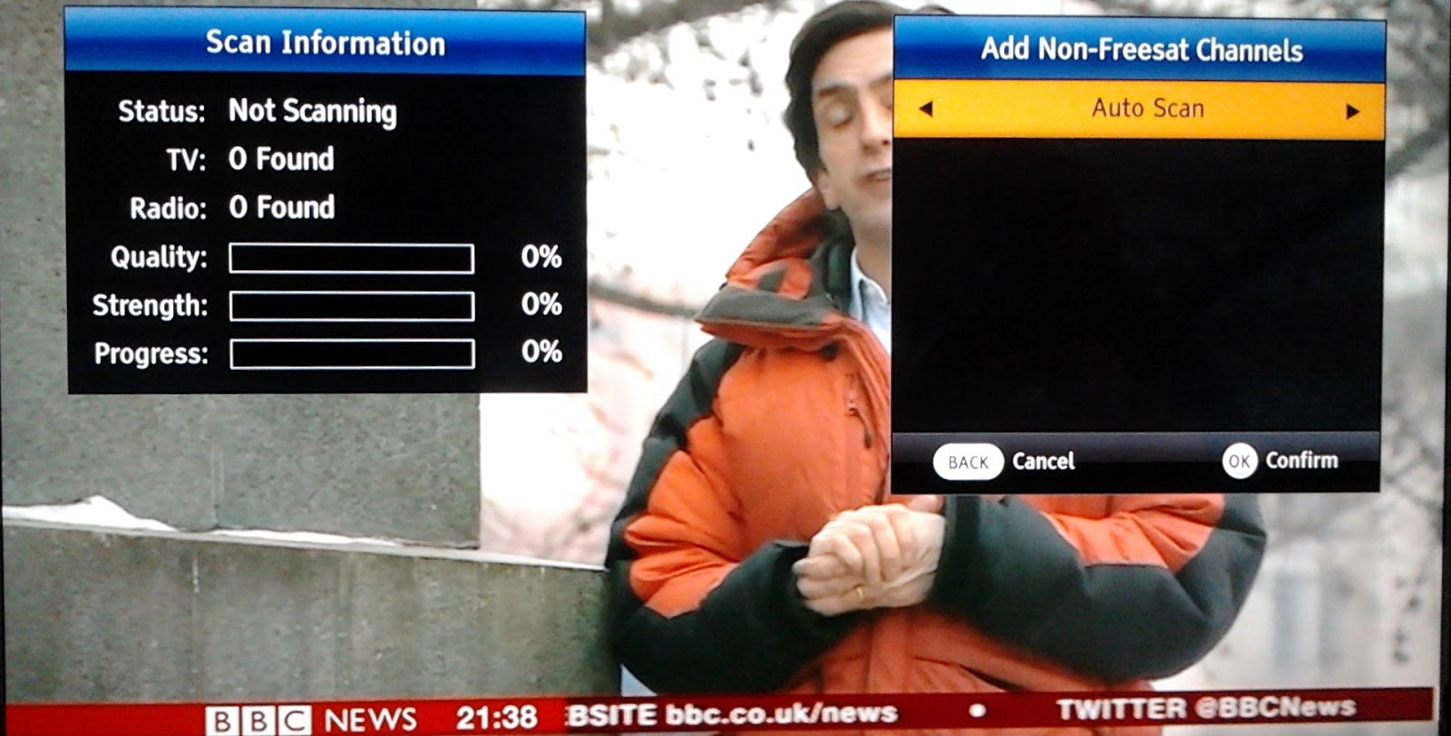 how to get menu to appear on satking satellite receiver