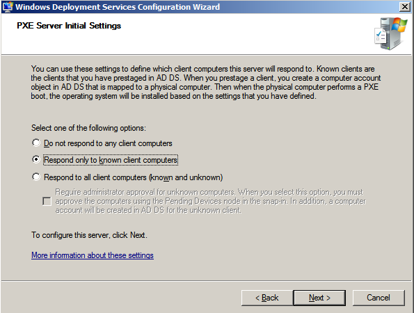 WDS Configuration Wizard