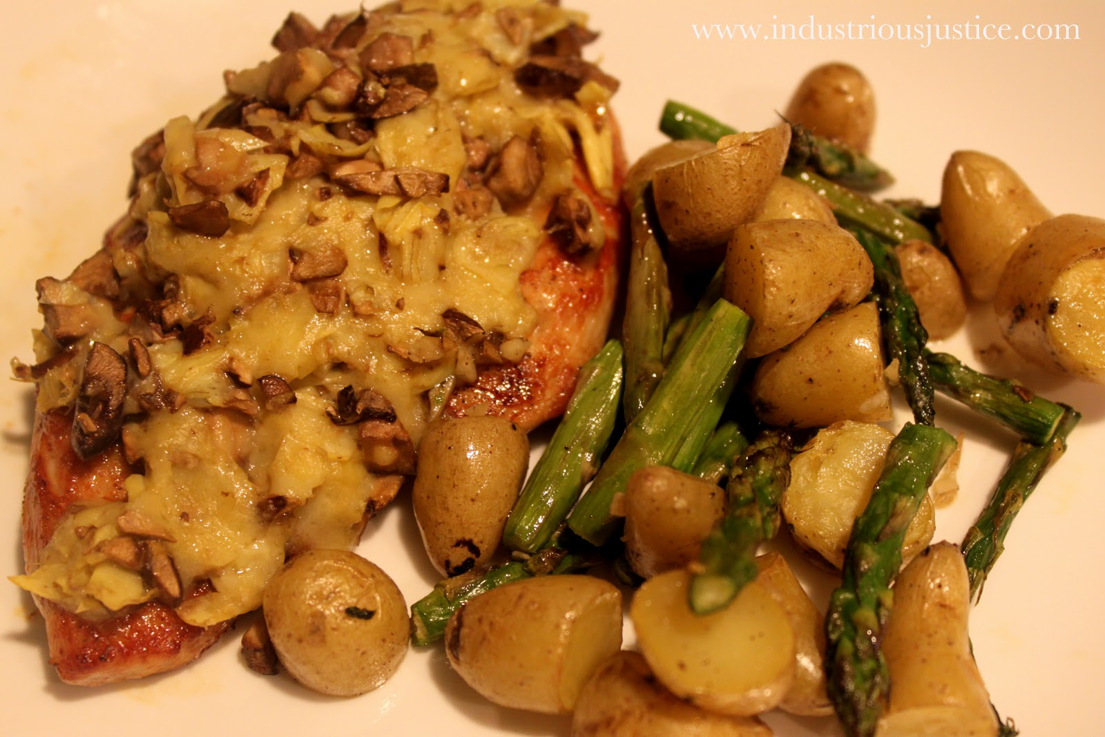 ... justice: Recipe: Artichoke and Mushroom Crusted Chicken Breasts