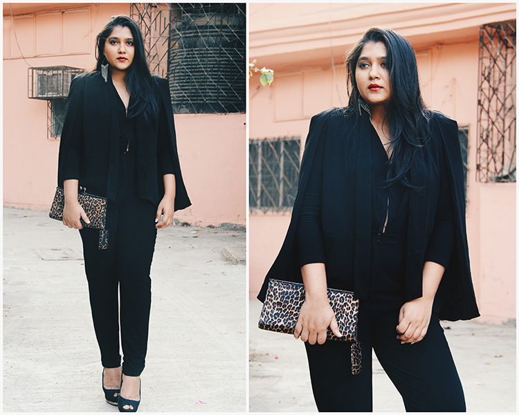 Black cape blazer with jumpsuit for the evening red carpet