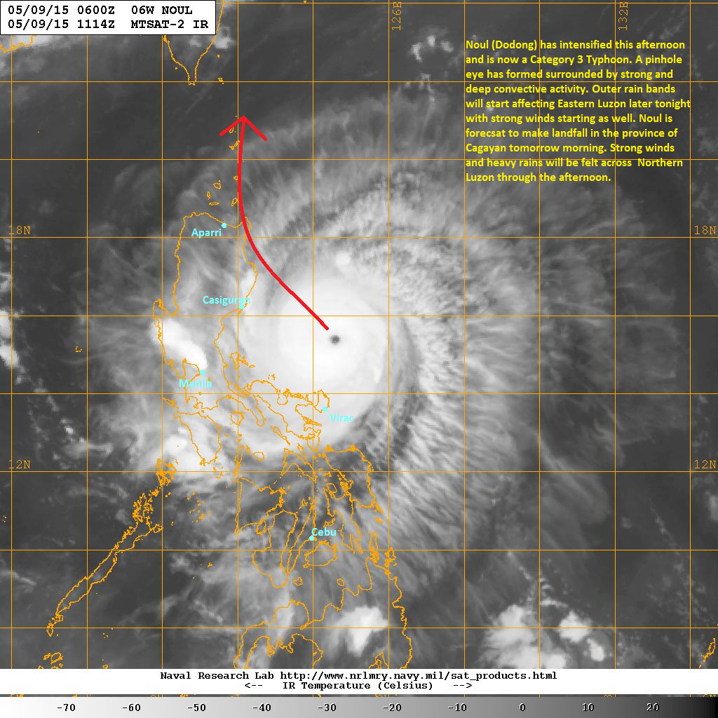 latest satellite image shows a pinhole eye has formed surrounded by strong and deep convective activity noul has been able to intensify as wind shear has