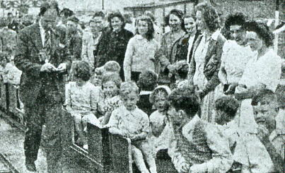 Alderman Nobes on Stokes Bay miniature railway 1948