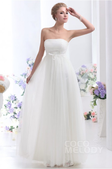Beach style wedding cocomelody dresses for Wedding dresses for small breasts