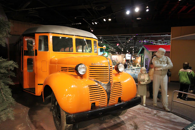Yellow bus is a popular transportation for students in the USA at National Museum of American History, Washington DC