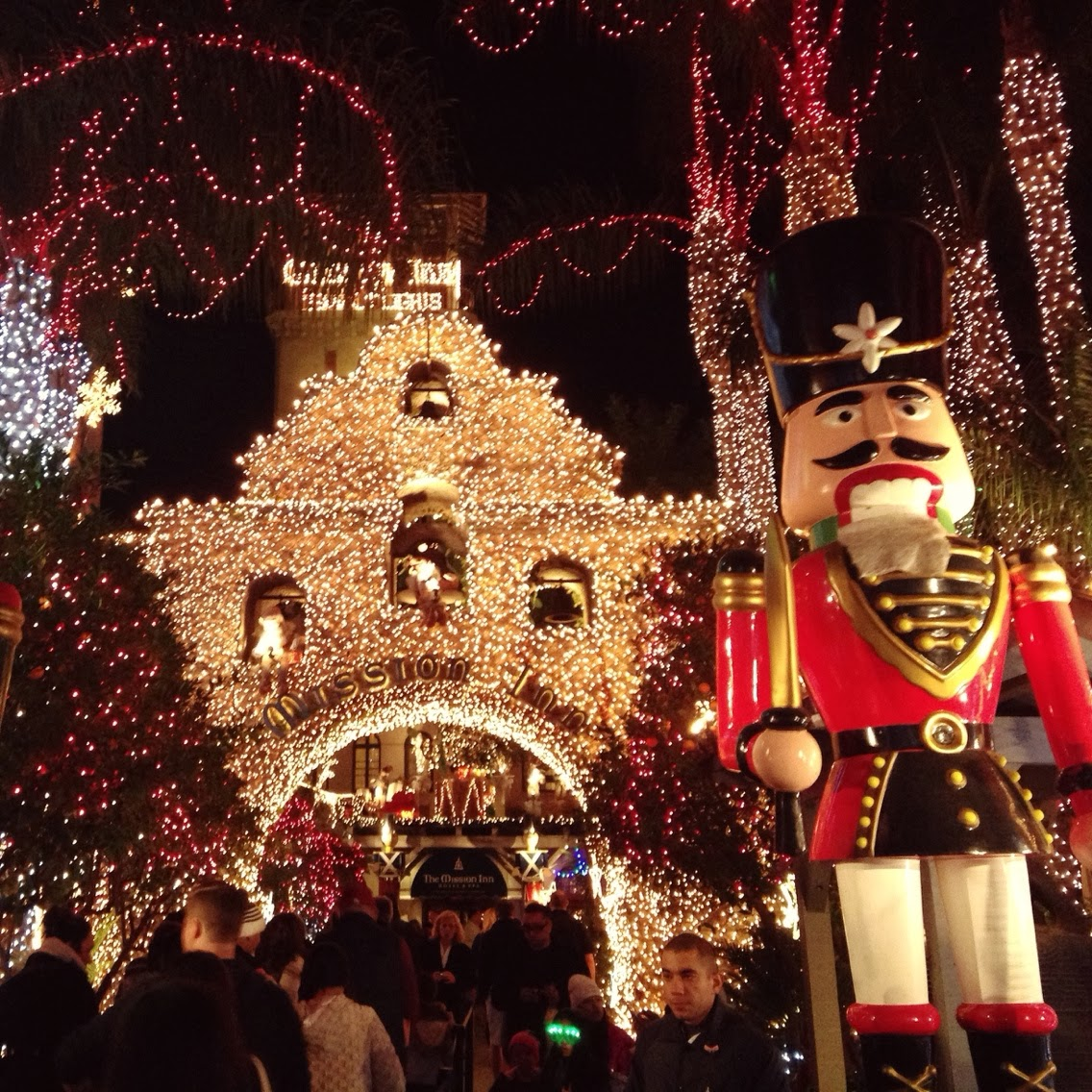 there is this hotel in downtown riverside called the mission inn who decks out their interior and exterior with amazing lights and christmas decorations - Mission Inn Christmas