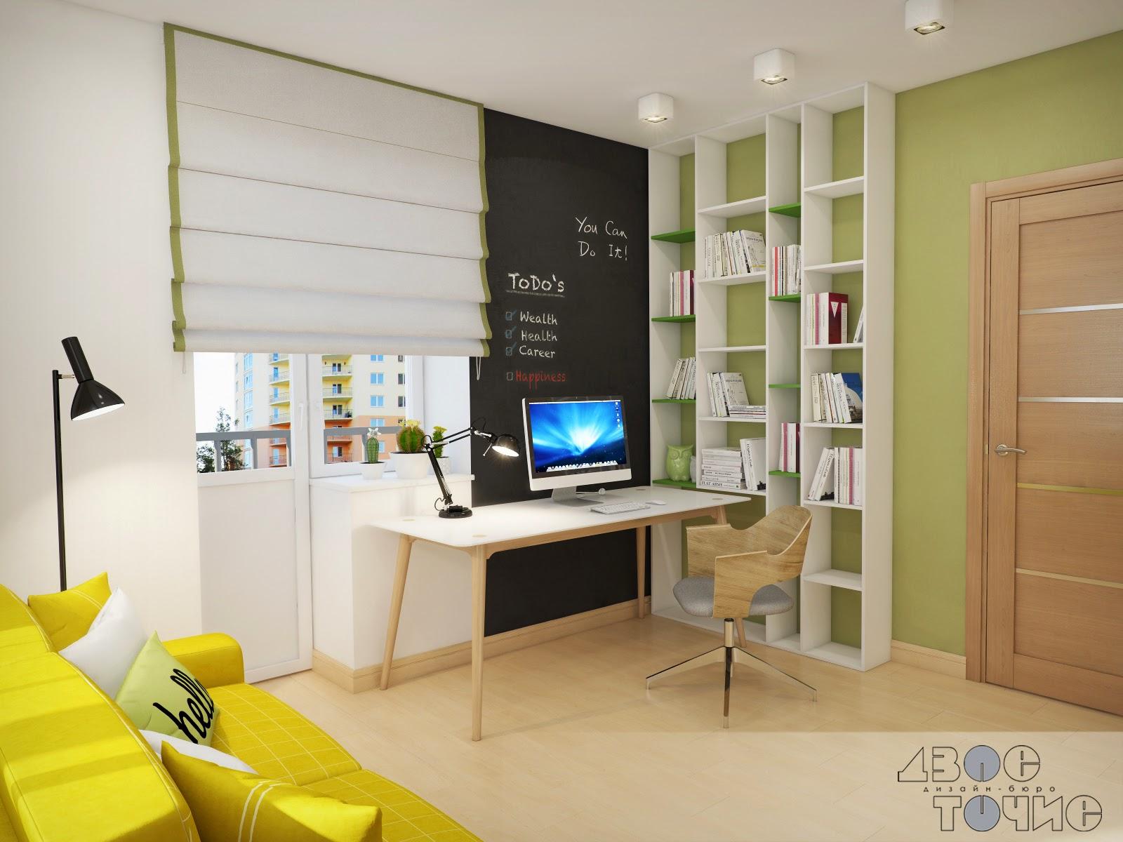 Грифельное покрытие на стене в кабинете