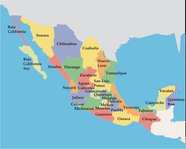 rep u00fablica mexicana  mapa de los estados mexicanos
