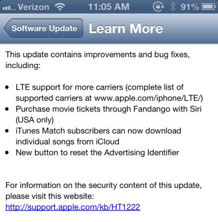 Disponibile al download la nuova versione del sistema operativo mobile di Apple con supporto alle reti LTE in Italia