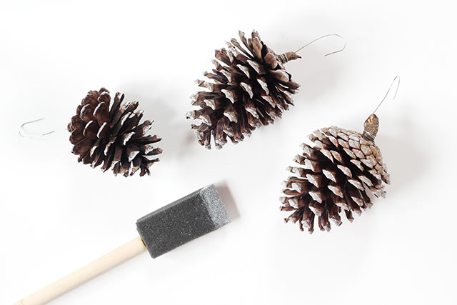 How to make frosted pinecone ornaments: Step 2