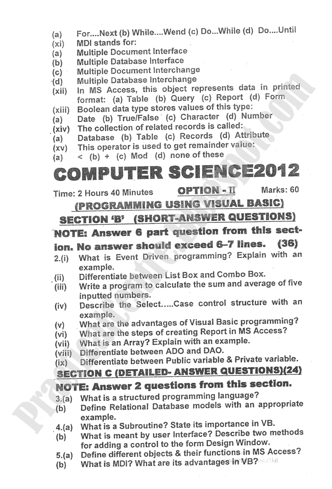 Computer-science-2012-five-year-paper-class-XII