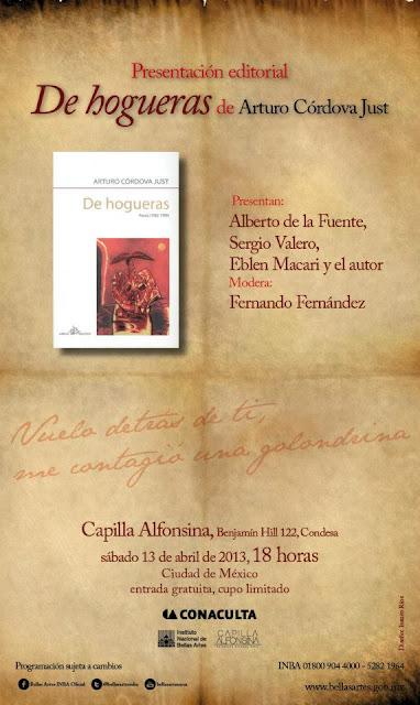 """Presentación del libro """"De hogueras"""" de Arturo Córdova en la Capilla Alfonsina"""
