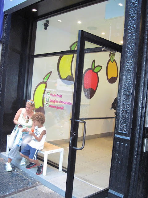 Cartoon fruit welcome those looking for a special Forbidden Fruit treat at this New in New York space.