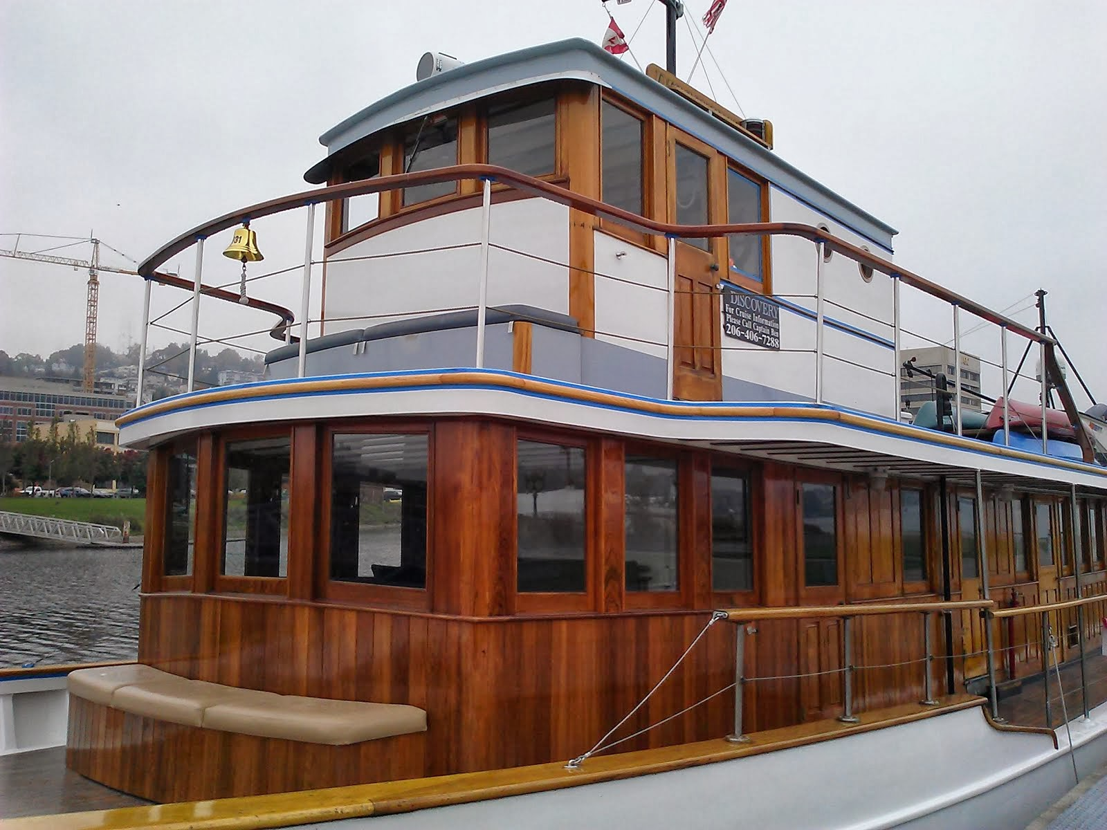 Close up of new Saloon, Wheel House in new position, with a captain's cabin behind.
